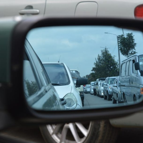 Traffic Jam pictured through a wing mirror