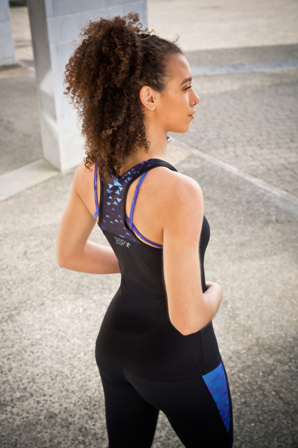 I-SPY Fitness yoga top - black with blue back view - gym clothes for women
