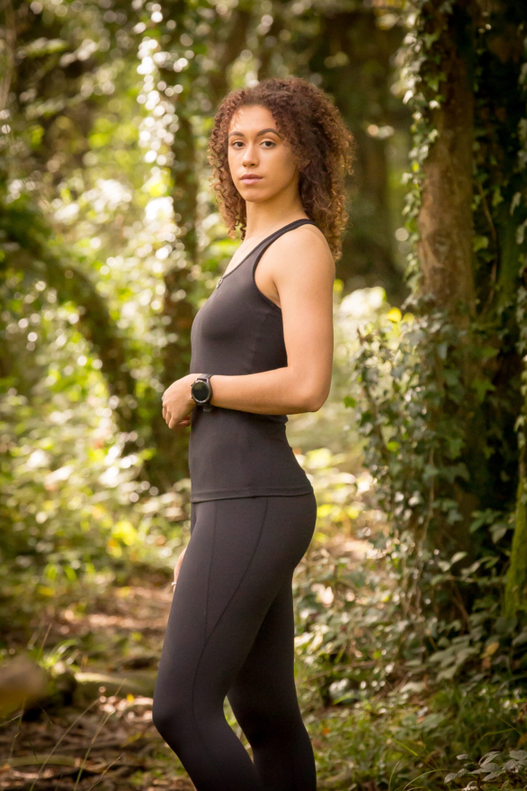 I Spy Fitness clothing for women - black capris leggings and black yoga top - side view