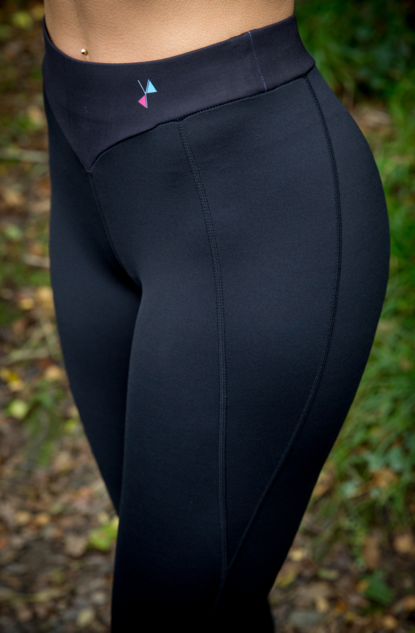 Close up of Black leggings - yoga pants - womens exercise clothes