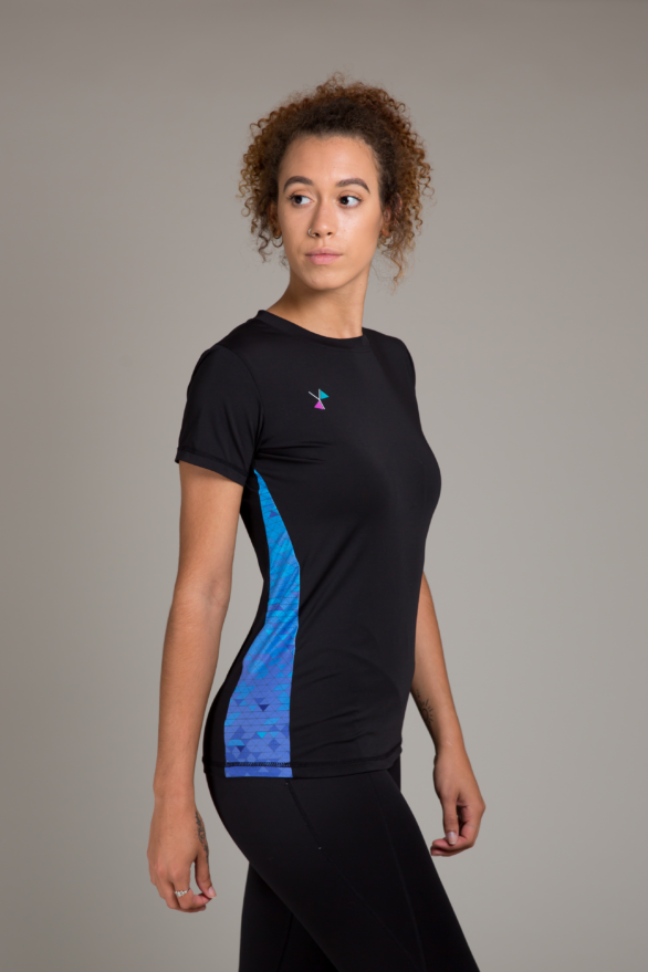 Black blue t shirt for women - fitness clothes for women - yoga exercise gear