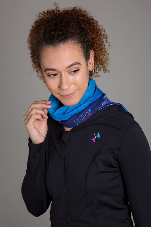 I Spy blue snood - neck warmer when exercising - fitness clothing
