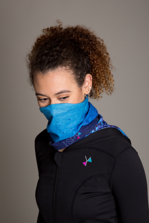 I-Spy Snoods and headband - model showing blue version